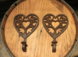 2 BROWN ANTIQUE STYLE CAST IRON HEART HOOKS 6.5quot; TALL wall rustic decorative