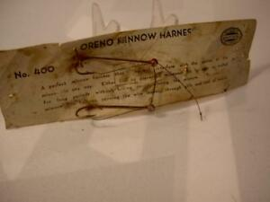 ANTIQUE OLD FISHING LURE SOUTH BEND BAIT COLLECTIBLE ORENO MINNOW HARNESS CARD