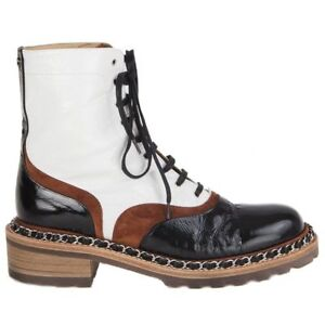 55972 auth CHANEL black white brown leather SALZBURG Ankle Boots Shoes 38.5
