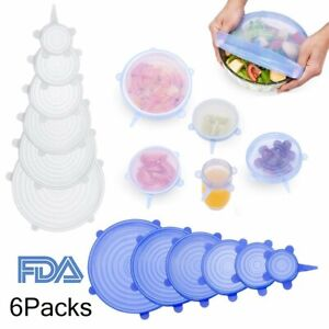 6x Reusable Silicone Stretch Pot Lids Wrap Bowl Seal Cover Kitchen Food Storage