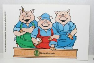LARGE BOISE CASCADE WOOD PRODUCTS THREE LITTLE PIGS STICKER 6.5