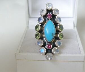 Large NICKY BUTLER Sterling Silver Turquoise Moonstone Rhodolite Knuckle Ring