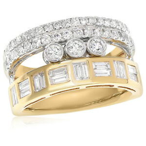 18K YELLOW WHITE TWO TONE GOLD BAGUETTE ROUND STACKED DIAMOND RIGHT HAND RING
