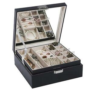 Elegant Jewelry Box Organizer Display Tray Storage Case Drawer Necklace Ear Ring