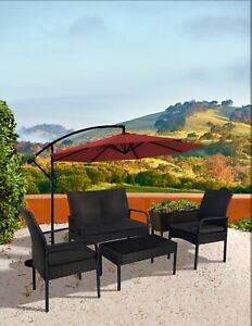 Patio bistro Set Sonoma 4PC Wicker all-weather Rattan Conversation With table