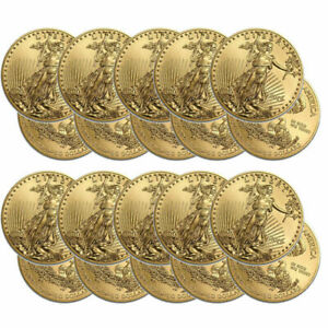 20 Gold 2019 1 oz. American Eagle Coins One Troy Ounce Eagles Roll of 20