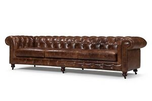 Tufted Top Grain Leather Chesterfield Sofa - Brand New - 97