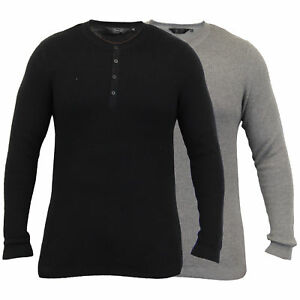 Mens Grandad Jumpers Dissident Knitted Ribbed Top Lightweight Casual Winter New