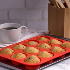 24 Cavity Silicone Muffin CupCake Cookie Durable Mould Pan Baking Tray Mold FM