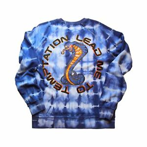 Shock and Awww Designer Tie Dye Snake Cobra Crew Neck Sweatshirt Navy Orange
