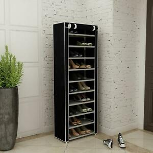 New 10 Tier Shoe Rack Shelf Standing Clost Cabinet Storage with Cover Black $18.79