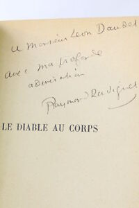 RADIGUET Diable au corps [The Devil in the Flesh] FIRST EDITION INSCRIBED 1923