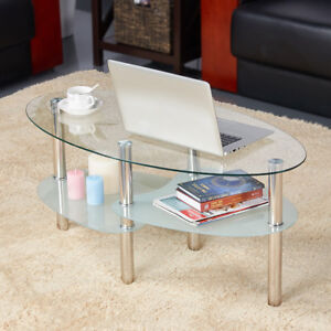 Modern Glass Top Oval Side Coffee Table Shelf Chrome Base Living Room Furniture