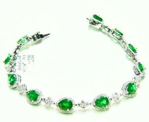 9.06CT 18K Gold Natural Emerald Diamond Halo Designer Vintage Tennis Bracelet