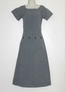 FILLY BRAND ~ Sz 2 ~ Mid Length Metal Gray Cotton Stretch DESIGNER Dress