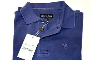 DISCOUNT 10% BARBOUR WASHED SPORTS BLUE POLO JERSEY COTTON PIQUE SHORT SLEEVE