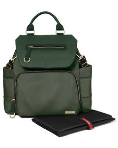 NEW! Skip Hop Chelsea Downtown Chic Diaper Backpack Forest Green