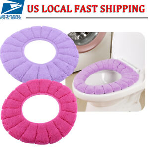 Bathroom Toilet Seat Warmer Cushion Soft Closestool Washable Cover Pad Mat US