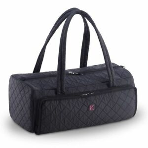 KIOTA Quilted Duffle Cosmetic Beauty Makeup Case w Brush Organizer Compartment