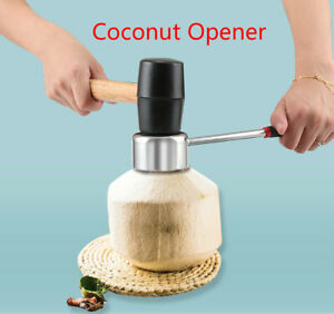 304 Stainless Steel Coconut Opener Tools Opener with Rubber Mallet Safe Quick