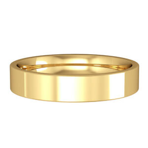 Jewelco London 18ct Yellow Gold 4mm Flat-Court Wedding Band Commitment Ring