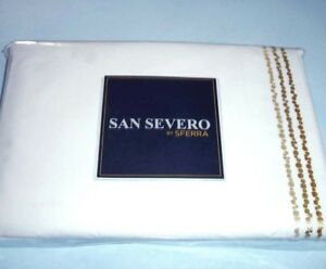 Sferra CRANDALL Twin Sheet Set White/Butter Embroidery 3 PC Cotton Percale Italy
