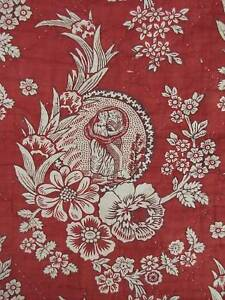 Valance Red Antique French 18th century block print linen Rouen pelmet textile