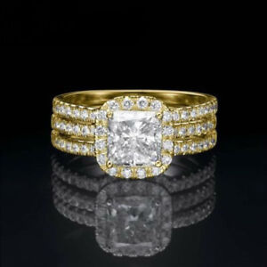 4.05 CT ANNIVERSARY DIAMOND RING 2 BANDS HALO SI2 18 KT YELLOW GOLD WOMENS