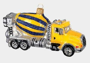 Construction Mixer Trucker Polish Blown Glass Christmas Ornament Decoration