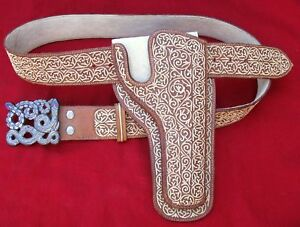MINT! BEST SILVER INLAID ENGRAVED SNAKE BUCKLE EMBROIDERED HOLSTER