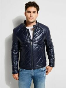 GUESS Men's Eco-Leather Quilted Moto Jacket