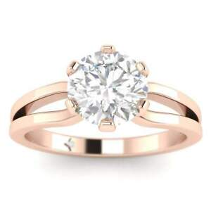 Rose Gold Designer Split Shank 6-Prong Round Diamond Engagement Ring - 1.25 ct D