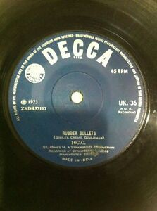 10 cc rubber bulletswaterfall Orig DECCA 1973 RARE SINGLE INDIA INDIAN VG+