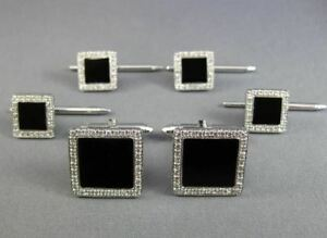 ESTATE LARGE 1.0CT DIAMOND & ONYX 14KT WHITE GOLD SQUARE SHIRT STUD CUFFLINK SET