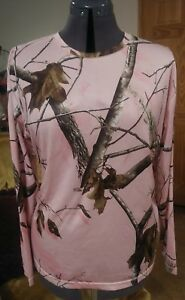 Womens REALTREE Pink Camouflage Stretch Long Sleeved Thermal Crew Top Size XL