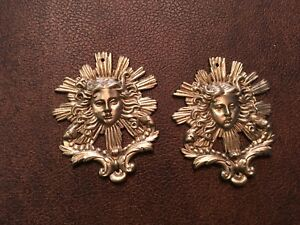Antique French pair  bronze classical womens heads with starburst design