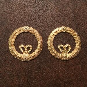 Antique pair gilt bronze ormolu mounts wreath design