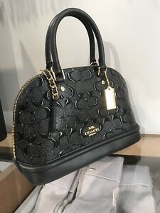 NWT Coach mini Sierra Domed Satchel Embossed Patent Leather handbag Black F27597