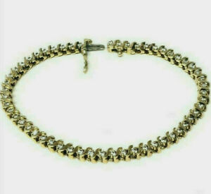 Fine Estate 14k Yellow Gold & Diamond Tennis Bracelet 12.8 gr No Reserve Price!