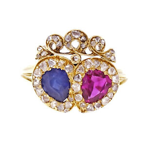 Antique Victorian Ruby Sapphire Ring 18k Yellow Gold Crown Design