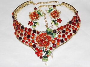 RED RUBY RHINESTONE CRYSTAL FLOWER CHOKER NECKLACE & EARRINGS SET