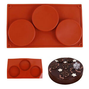US 3-Cavity Silicone Disc Mold Bakeware Cake Pie Coaster Non-stick Mould Tool