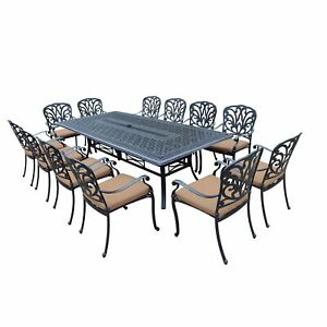 103 x 47-inch Dining Table 12 Stackable Chairs and Sunbrella Cushions