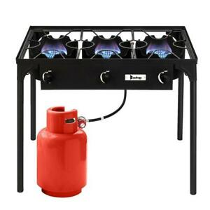 Portable Propane 225000 BTU 3 Burner Gas Cooker Outdoor Camping Stove Grill