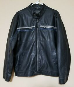 Men's Black Leather Jacket Size Large By Arizona Jean Company Black Insulated