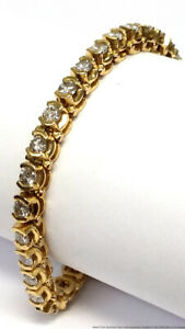 Approx 5.1ctw Fine Diamond 14K Yellow Gold Vintage Ladies Tennis Bracelet