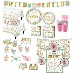 Ultimate Boho Girl Birthday Party Kit for 32 Guests Includes Photo Booth Props