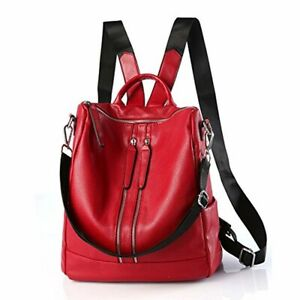 Travel Backpacks Women Casual Shoulder Bag Purse Fashion PU RED