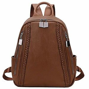 Women Backpack Purse Grain Leather Nylon Ladies Rucksack Small Casual Backpack
