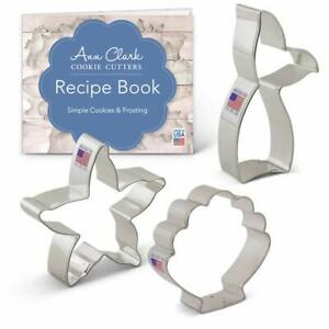 Mermaid Cookie Cutter Set with Recipe Book - 3 piece - Mermaid Tail Starfish...